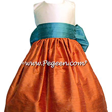 Pumpkin Orange, New ivory and Teal flower girl dresses Style 398