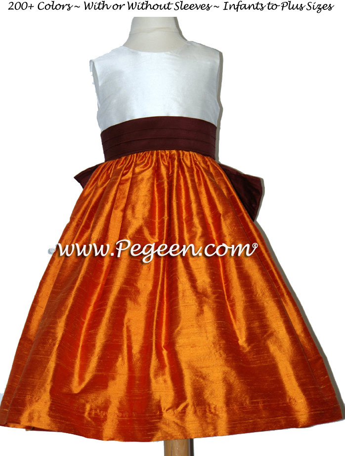 BURGUNDY AND PUMPKIN Orange CUSTOM FLOWER GIRL DRESSES