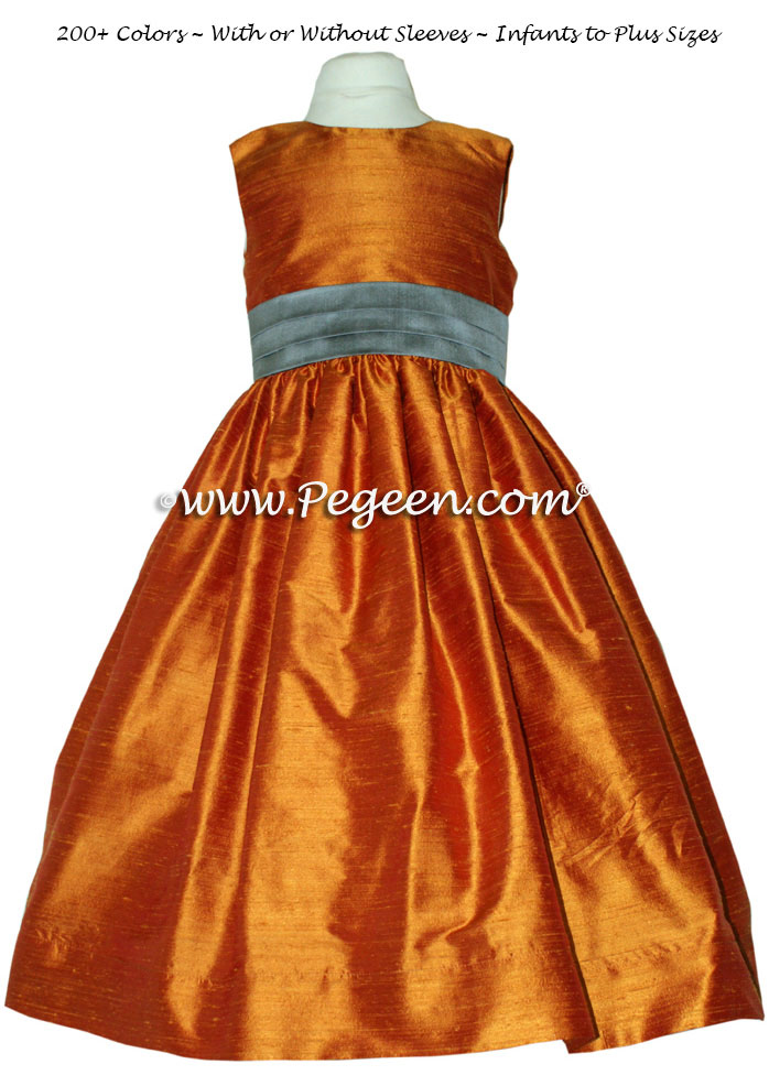 Flower girl dresses Style 398 in Pumpkin (orange) and Wolf Gray | Pegeen