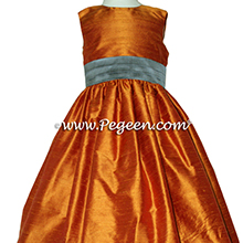 Pumpkin (orange) and Wolf Gray Silk flower girl dresses Style 398 by Pegeen