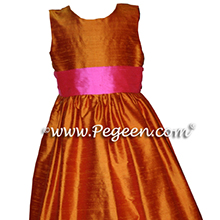 pumpkin and bright pink custom FLOWER GIRL DRESSES