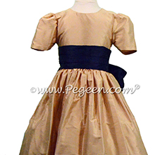 Navy and Spun Gold Flower Girl Dress