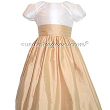 FLOWER GIRL DRESSES in Ivory & Pure Gold Silk with Quarter Cap Sleeves