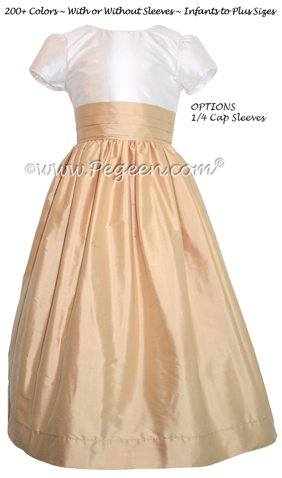 Coral Rose & Pure Gold Silk with Back Bow FLOWER GIRL DRESSES
