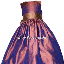 Raisin and copper silk flower girl dress
