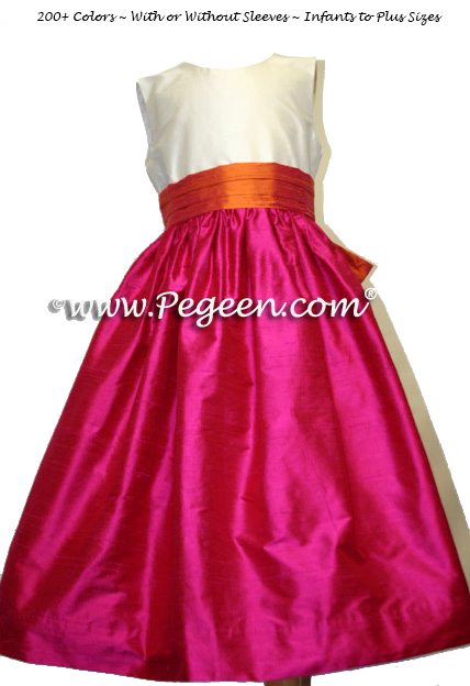 raspberry and mango flower girl dresses