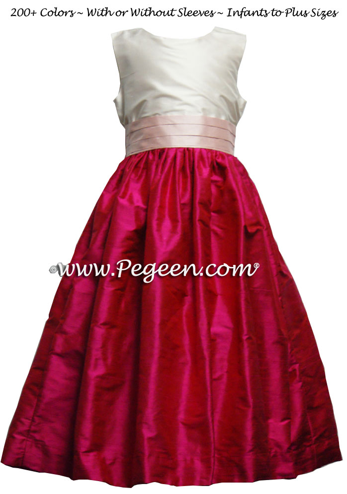 Raspberry and Shell Pink flower girl dresses