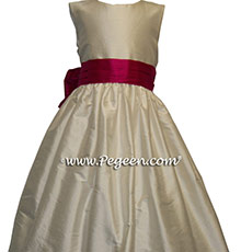 NEW IVORY AND RASPBERRY Flower Girl Dresses