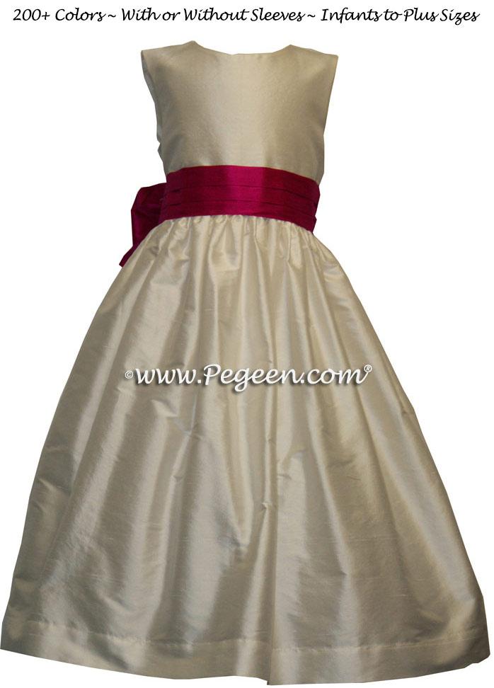NEW IVORY AND RASPBERRY silk flower girl dresses