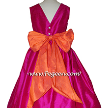 Raspberry and orange silk flower girl dress