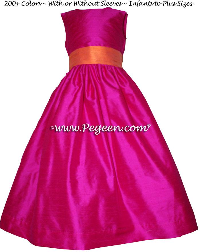 Raspberry and Orange Custom Flower Girl Dresses