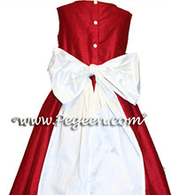 Christmas Red and White CUSTOM SILK FLOWER GIRL DRESS - Style 398
