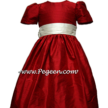 RED  flower girl dresses, VALENTINES DAY OR HOLIDAY FLOWER GIRL DRESSES IN CHRISTMAS RED