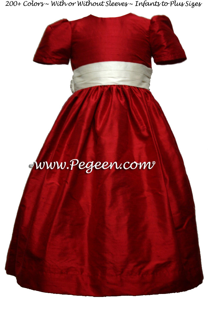 Claret Red and New Ivory Custom Silk Flower Girl Dress Style 398  | Pegeen