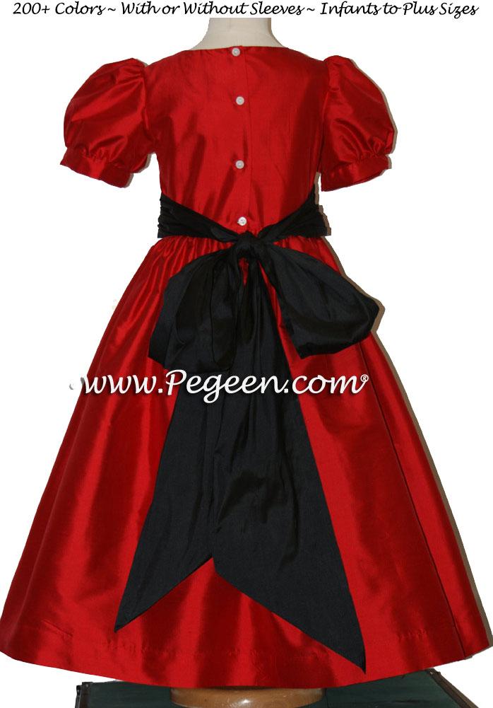 CHRISTMAS RED AND BLACK Orange CUSTOM FLOWER GIRL DRESSES