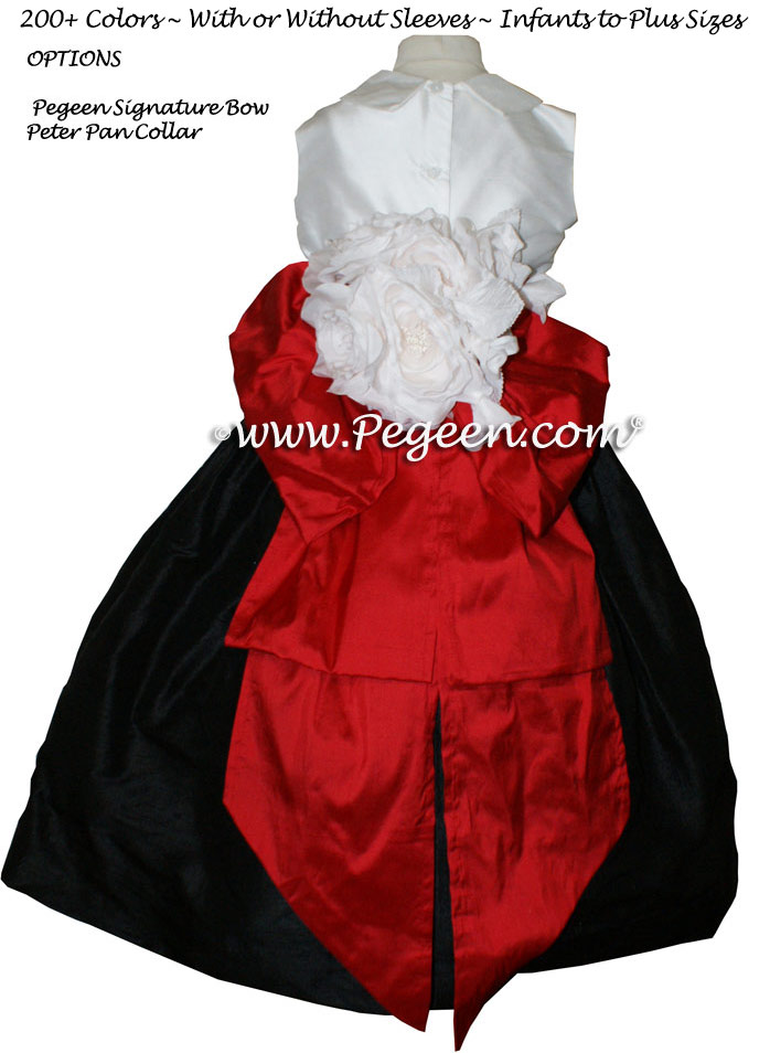 2bce800bdd0 Red and Black Silk Flower Girl Dresses with Collar
