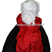 RED AND BLACK Silk Flower Girl Dresses with Peter Pan Collar AND BUSTLE