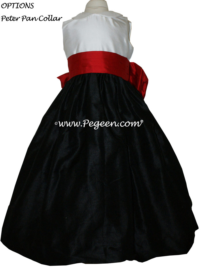 RED AND BLACK SILK FLOWER GIRL DRESSES