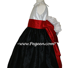 Black, red and white flower girl dress