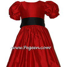 CHRISTMAS RED AND BLACK flower girl dresses