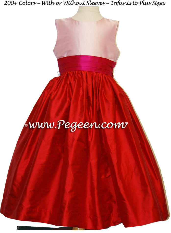 VALENTINES DAY OR HOLIDAY FLOWER GIRL DRESSES IN CHRISTMAS RED