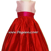 RED, HOT PINK AND BUBBLEGUM PINK flower girl dresses