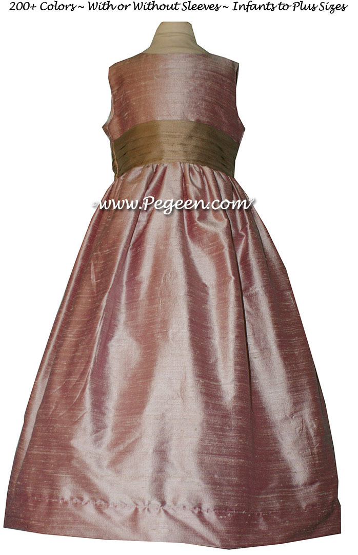 Rose Pink and Antigua Taupe flower girl dresses