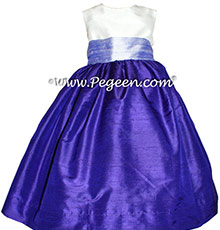 Lilac and Royal Purple Silk Flower Girl Dresses Style 398