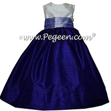 Lilac and Royal Purple silk Flower Girl Dresses by Pegeen