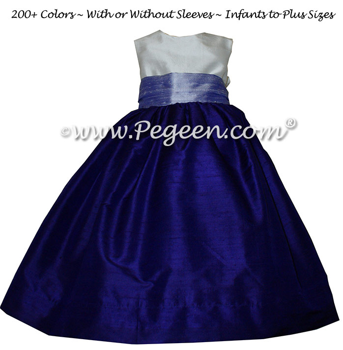 Flower Girl Dresses in Lilac and Royal Purple Silk | Pegeen
