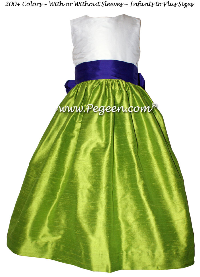 Key Lime and Royal Purple silk flower girl dresses