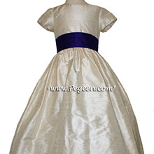 Toffee creme and deep plum flower girl dresses Style 398 by Pegeen