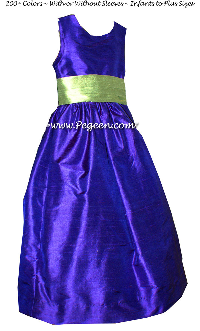 Sapphire Blue and Sage Green flower girl dress in silk