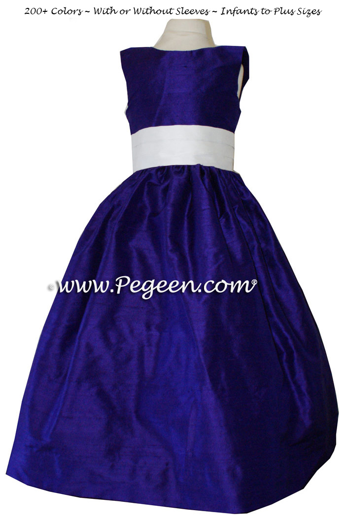 Flower girl dress in royal purple and antique white style 398 | Pegeen