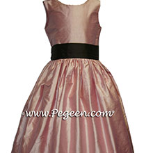Lotus Pink and Semi-Sweet Brown Flower Girl Dress
