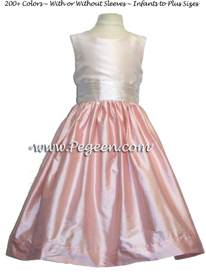 Baby Pink and Rum Pink PINK Silk flower girl dresses