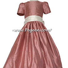 Rum Pink silk flower girl dresses in silk style 398 by Pegeen