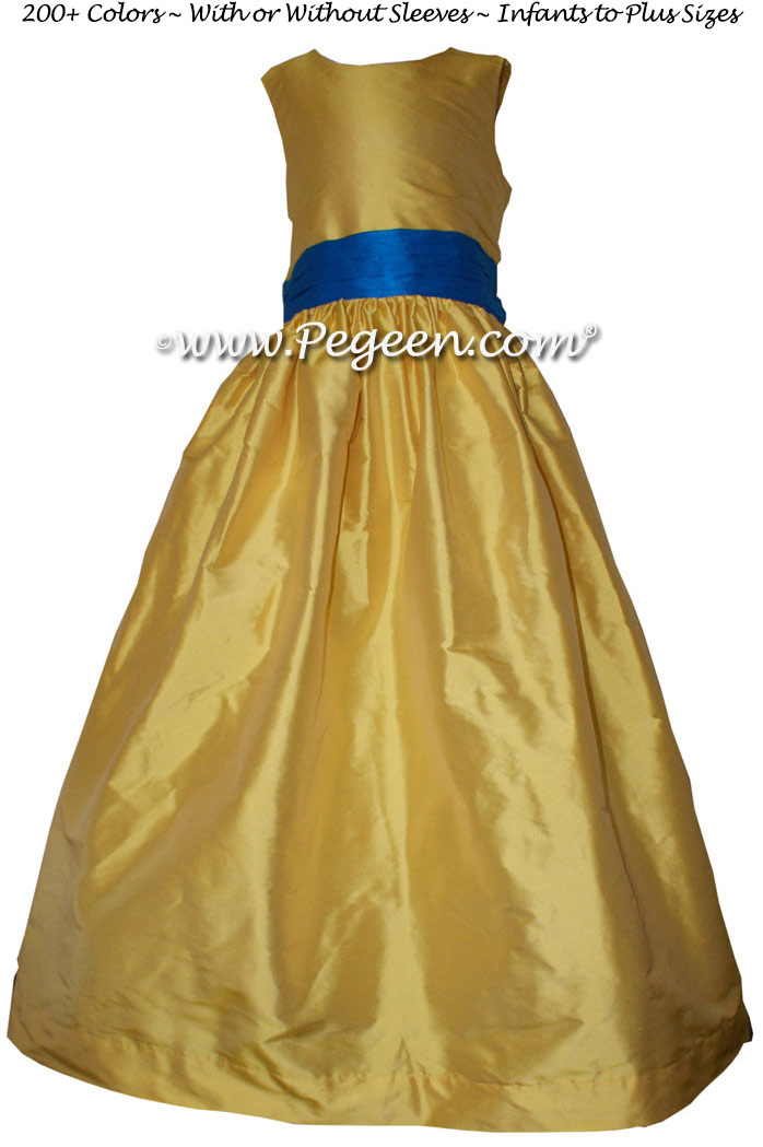 Flower Girl Dress in Saffron, Blue Sapphire Style 398 | Pegeen