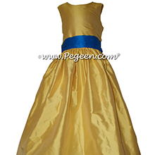 Saffron Yellow and Blue Saphire Tulle Flower Girl Dresses by PEGEEN