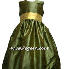 Sage green and sunflower yellow Flower Girl Dresses
