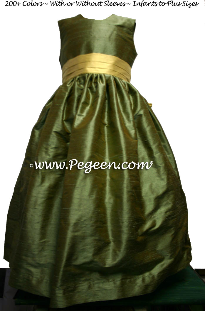 SAGE GREEN AND SUNFLOWER silk FLOWER GIRL DRESSES by Pegeen