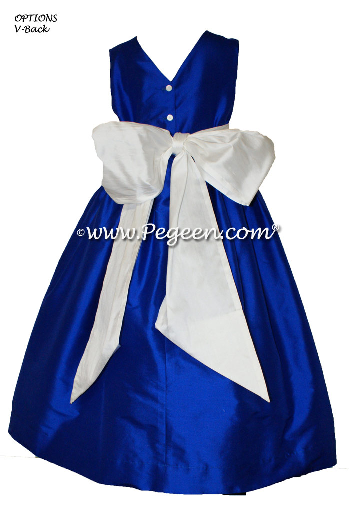 Antique white and Sapphire Blue silk flower girl dresses