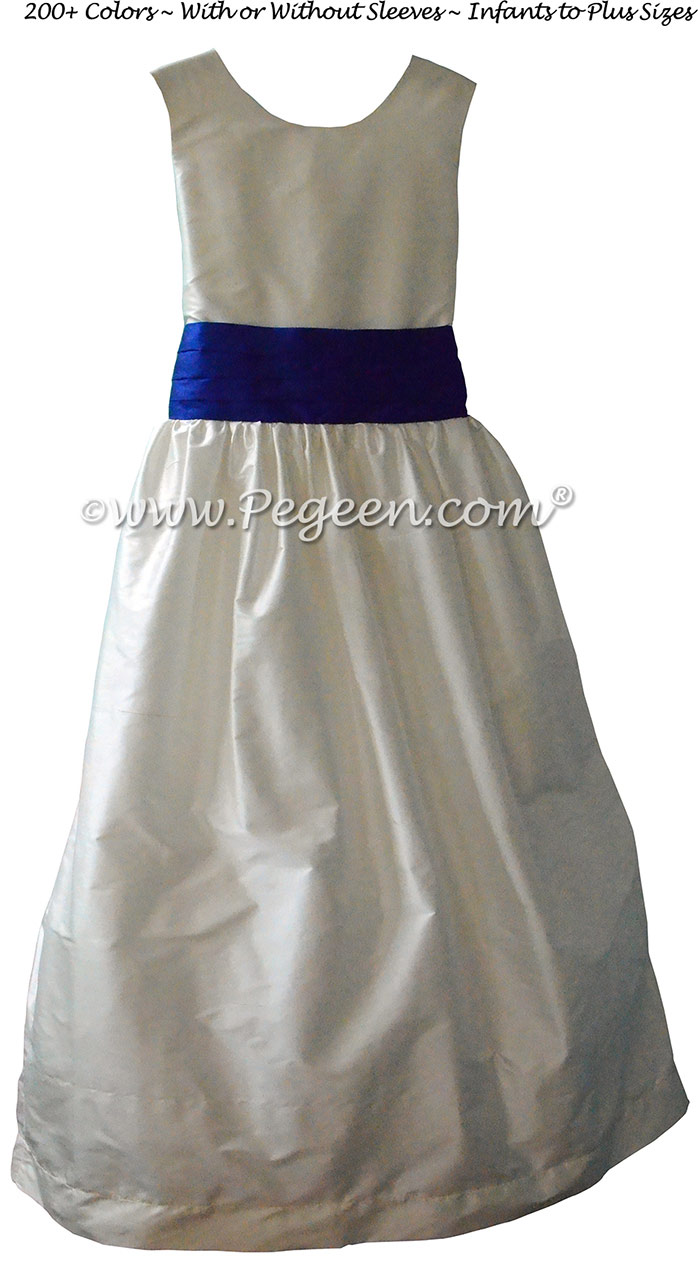 ANTIQUE WHITE AND Sapphire SILK JR. BRIDESMAID DRESS