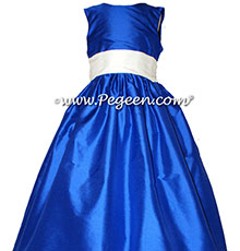Antique White and bright Sapphire Blue Silk flower girl dress