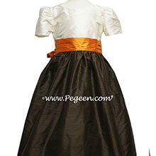 ORANGE AND SEMI-SWEET BROWN FLOWER GIRL DRESS Style 398 by Pegeen