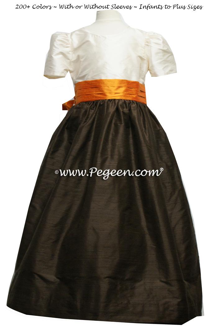 Flower girl dress Style 398 in Pumpkin Orange and semi-Sweet brown | Pegeen