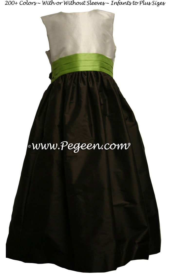 Sprite green and Semi-Sweet silk FLOWER GIRL DRESSES by Pegeen