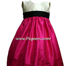 Black and Shocking pink flower girl dresses