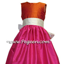 shocking pink and orange flower girl dresses