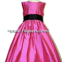 SHOCKING PINK AND BLACK FLOWER GIRL DRESSES